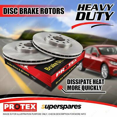 Pair Rear Protex Vented Disc Brake Rotors For Bmw 320 325 328 330 E46 97-on