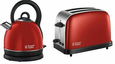 Russell Hobbs Colour Plus 2 Slice Toaster Rapid Boil 1.8L Kettle RED – GIft Set