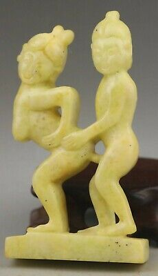 Chinese old natural jade hand-carved statue pendant 3.5 inch
