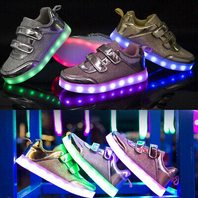 USB LED Light Up Kids Boys Girls Trainers Flashing Sneaker Children Casual Shoes