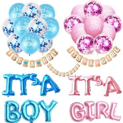 Baby Shower It's A Boy Girl Bunting Banner balloons Party Garland Christening