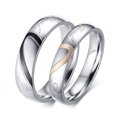 Real Love Wedding Couple Ring Set for Men Women Engagement Promise Band Heart