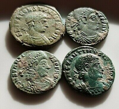 Perfect Lot Of 4 Ancient Roman Bronze Coins