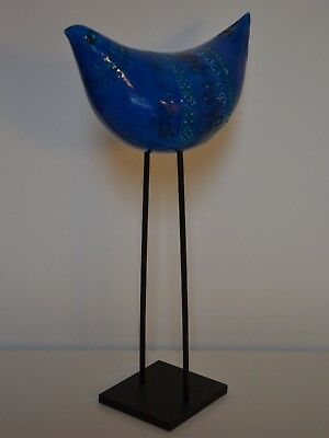 BITOSSI ALDO LONDI RIMINI BLUE (BLU) BIRD ON STAND -new & boxed Italian pottery
