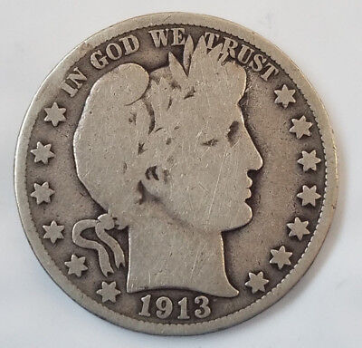 1913 D Barber Liberty 90% silver half dollar  (122818-124)