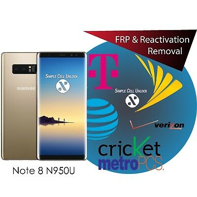 Samsung Galaxy Note 8 Google account FRP & Samsung Reactivation removal instant
