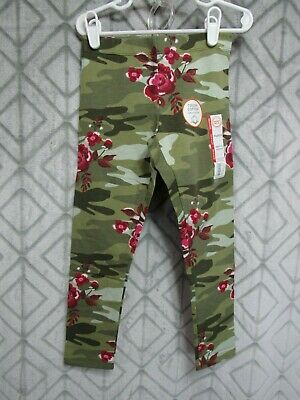 New Wonder Nation Leggings Size S 6-6X Girls Green Camo Red Floral School Play