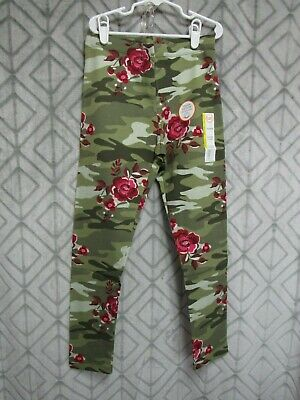 New Wonder Nation Leggings Size L 10-12 Girls Green Camo Red Floral  School Play