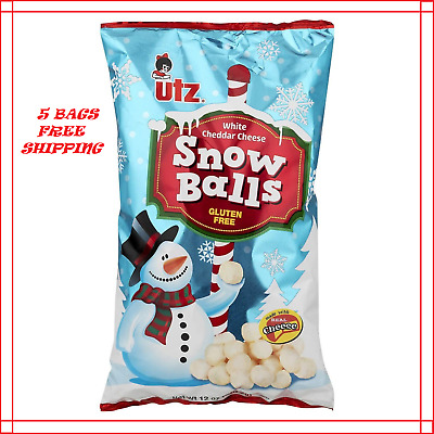 UTZ Snow Balls White Cheddar Cheese Balls 12 oz. ( 5 BAGS )( FREE SHIPPING )