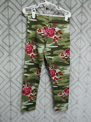 New Wonder Nation Leggings Size XS 4-5 Girls Green Camo Red Floral  School Play