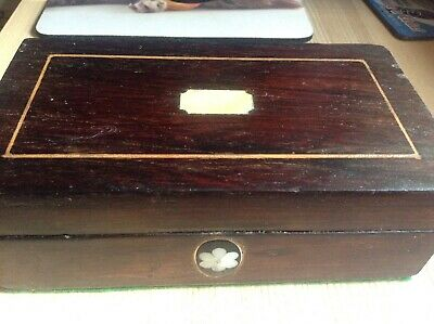 Vintage Wooden Sewing Box with Original Inlaid Mother of Pearl and dark Veneer