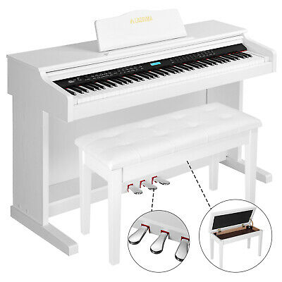 88 Key LCD Electric Digital Piano Keyboard w/ Bench, 3 Pedal, Board Cover White