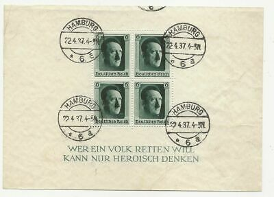 Germany Sc# B102 Used Souvenir Sheet Hamburg Cancels