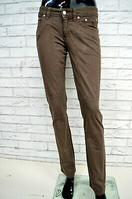 Pantalone JECKERSON Donna Taglia Size 38 Jeans Pants Trousers Woman Marrone Slim