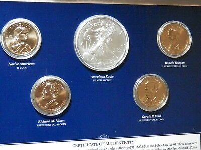 2016 Annual Uncirculated Dollar Coin Set With 2016 Burnished Silver Eagle Ogp