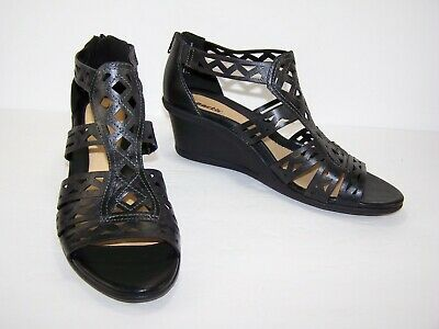 06f599972ed Earth Womens Sandals Gladiator Cutout Wedge Shoes Petal Black Leather Size  12B