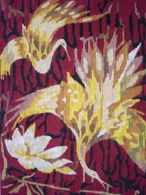"Vintage completed cotton needlepoint tapestry  2 birds & Lotus 19.5""x14.5"""