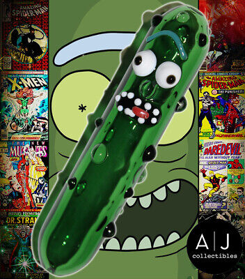 Funny Pickle Rick Glass Pipe Glass Bong Smoking Pipe Glass Bowl Hookah Tobacco