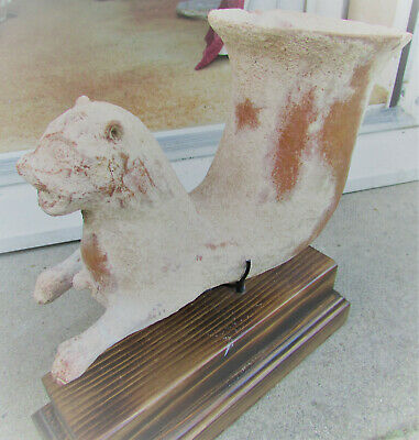 Circa 4Th Century Bc Ancient Persian Terracotta Rhyton With Beast On Stand