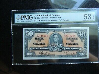 1954 Bank Of Canada $50 Fifty Dollars Consecutive Beattie Coyne Changeover