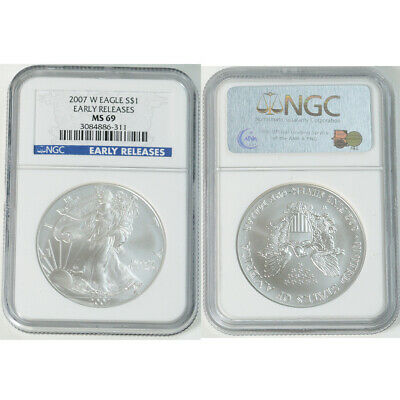 2007-W NGC MS69 Silver American Eagle Dollar $1 Early Releases West Point Graded