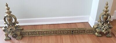 Antique French Empire Brass Expandable Adjustable Fireplace Fender heart decor.