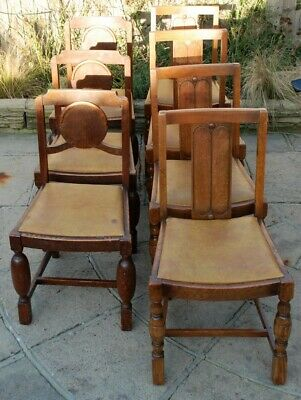 7 Old Vintage Antique Chairs 2 Diffe Styles Solid Wood Oak Or Similar