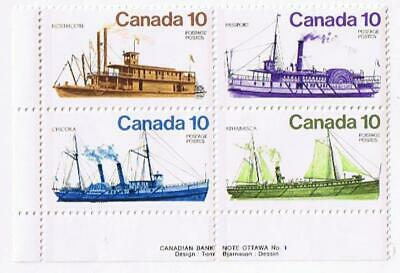 Canada MNH #700-703 Inland Vessels Ships Sailing LL Plate Block 4 1976