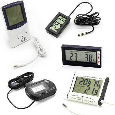 Digital LCD In/Outdoor Refrigerator Aquarium Thermometer Hygrometer Temperature