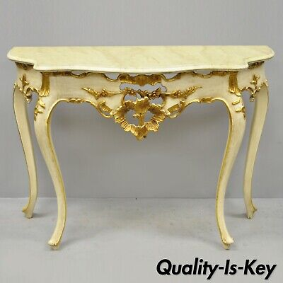 Vintage French Louis XV Rococo Style Cream & Gold Gilt Console Hall Sofa Table