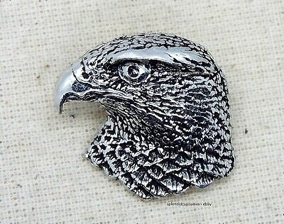 Large Hawk on Gauntlet Pewter Pin Brooch Falconry Raptor British Hand Crafted