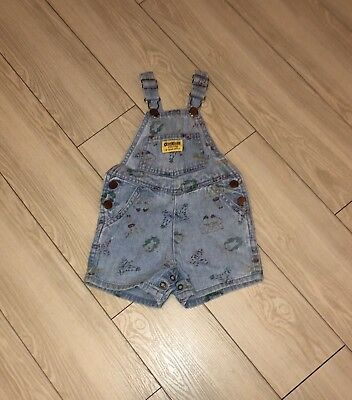 Baby Girls VTG OSHKOSH Denim Overalls Shortalls One Piece Zoo Animals 18 Months
