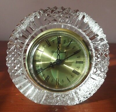 """Signed Tyrone Crystal 'Drumreagh' Clock, no box. Approx. 4"""" Diameter."""