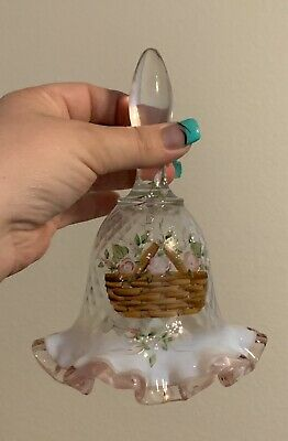 Fenton  Hand PAINTED Bell Longaberger Signed 25th Anniversary