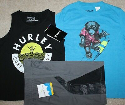 2 Hurley Shirts, Shorts; Green//Blue - Size 2T New Boys Summer 3 pc Lot//Outfit