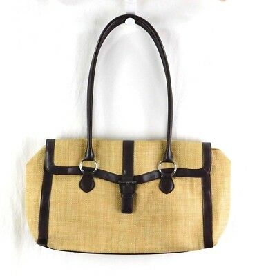 BANANA REPUBLIC WOVEN Straw Bag with Leather Handles and Bottom ... 6008c8e292f54