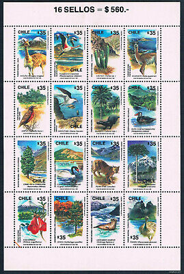 $18.00 Value - CHILE WILDLIFE SHEET 1990 - Stamp Sale MNH NH Combined Shipping
