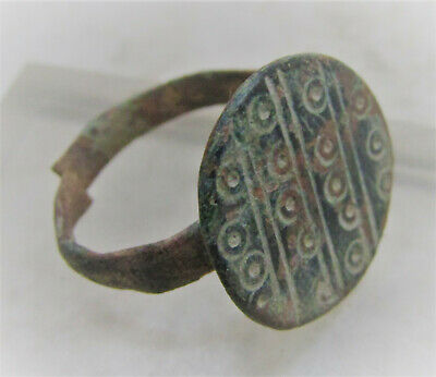Beautiful Ancient Anglo Saxon Bronze Finger Ring With Evil Eye Motifs
