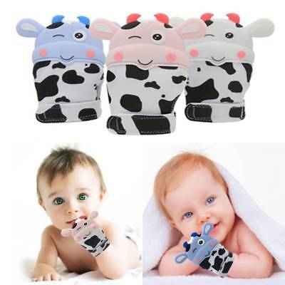 Silicone Mitts Teething Mitten Cow Teething Molar Gloves Wrapper Baby Teether