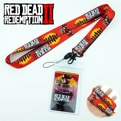 Red Dead Redemption 2 Lanyard Neck Strap Charms Cell Phone Rope KeyChain + Card