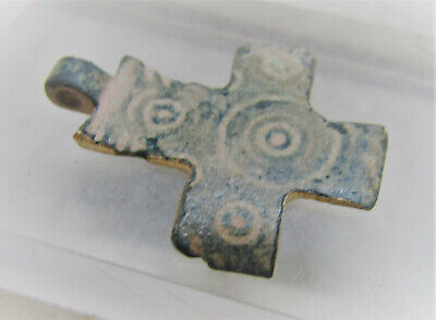 Rare Ancient Byzantine Bronze Crusaders Cross Pendant Holy Lands 600-700Ad