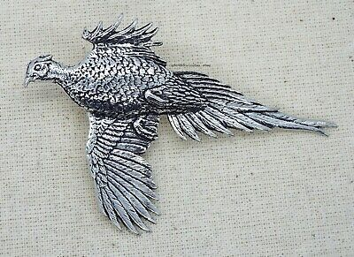 Large Pheasant Pin Badge (English Silver Pewter Brooch in gift pouch)