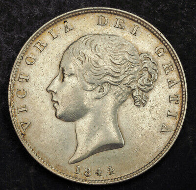 1844, Great Britain, Queen Victoria. Beautiful Silver ½ Crown Coin. About XF/AU!