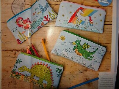 4 Pencil Cases cross stitch charts designed by Angela Poole