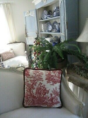 French Country~Red Toile W/ Velvet Cording & Trapunto Backing Decorative Pillow