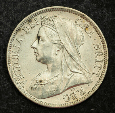 1899, Great Britain, Queen Victoria. Beautiful Silver ½ Crown Coin. Cleaned XF!