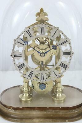 GOOD ANTIQUE SKELETON CLOCK English fusee movement with OVAL GLASS DOME c1880