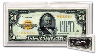 Large BCW Banknote Snaplock UNC Currency Protector Holder US 1 New Slab