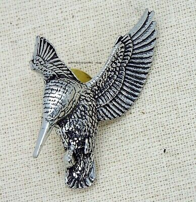 Hovering Kingfisher Pin Badge (English Silver Pewter Brooch in gift pouch)