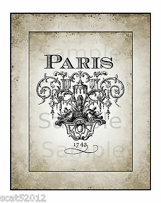 """Wall art print 8"""" x 10"""" (Unframed) French. Paris Ornate Lettering 325gsm card"""